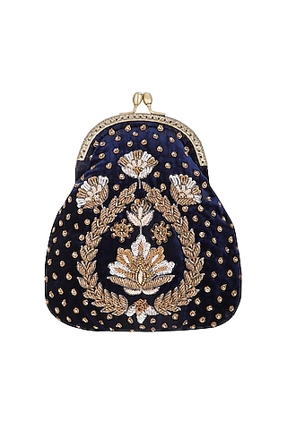 Navy Blue Hand Embroidered Half Moon Frame Clutch by MKNY