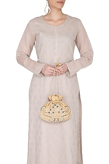 Ochre Gold Hand Embroidered Berkshire Potli by MKNY