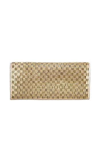 Gold Hand Embroidered & Sewed Soho Clutch by MKNY