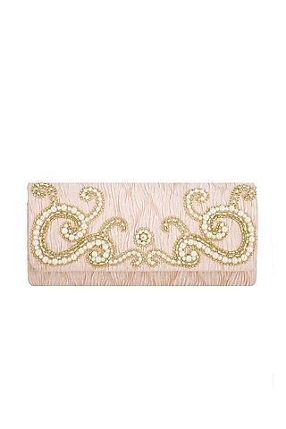 Powder Peach Embroidered Handcrafted Clutch by MKNY