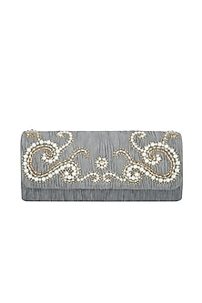 Grey Embroidered Handcrafted Clutch by MKNY
