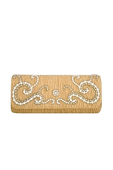 Ochre Gold Embroidered Handcrafted Clutch by MKNY