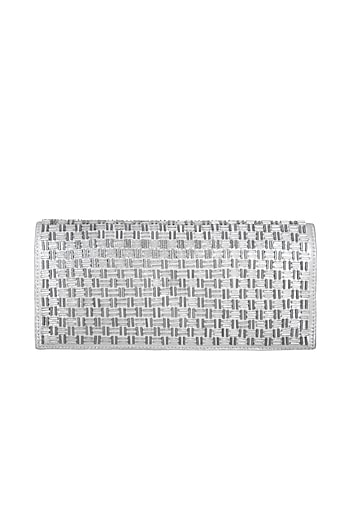 Silver Hand Embroidered & Sewed Soho Clutch by MKNY