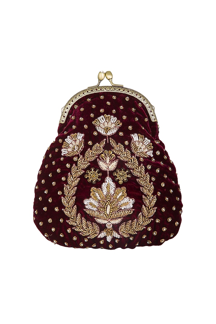 Deep Red Hand Embroidered Half Moon Frame Clutch by MKNY