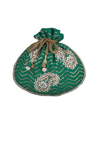 Green Embroidered Potli Bag by MKNY