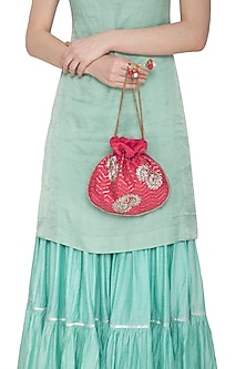 Pink Embroidered Potli Bag by MKNY