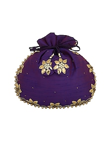 Purple Embroidered Potli Bag by MKNY