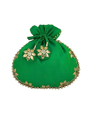 Emerald Green Embroidered Potli Bag by MKNY