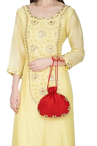 Red Hand Embroidered Potli Bag by MKNY