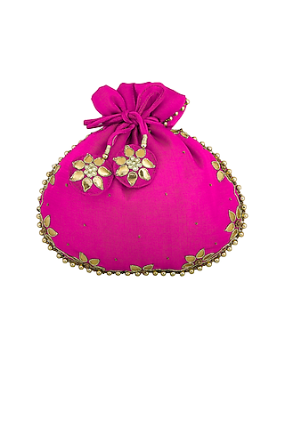 Fuchsia Embroidered Potli Bag by MKNY