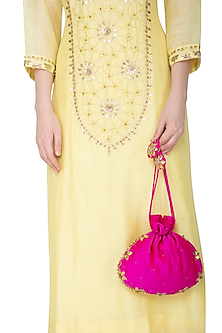 Fuchsia Embroidered Potli Bag by MKNY