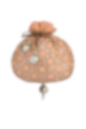Peach Embroidered Potli Bag by MKNY