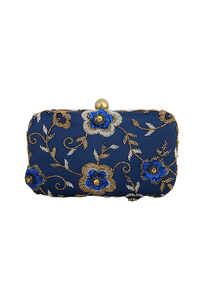 Navy Blue Embroidered Clutch by MKNY