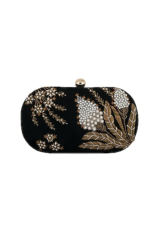 Dark Green Embroidered Clutch by MKNY