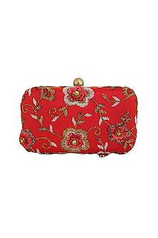 Red Hand Embroidered Clutch by MKNY