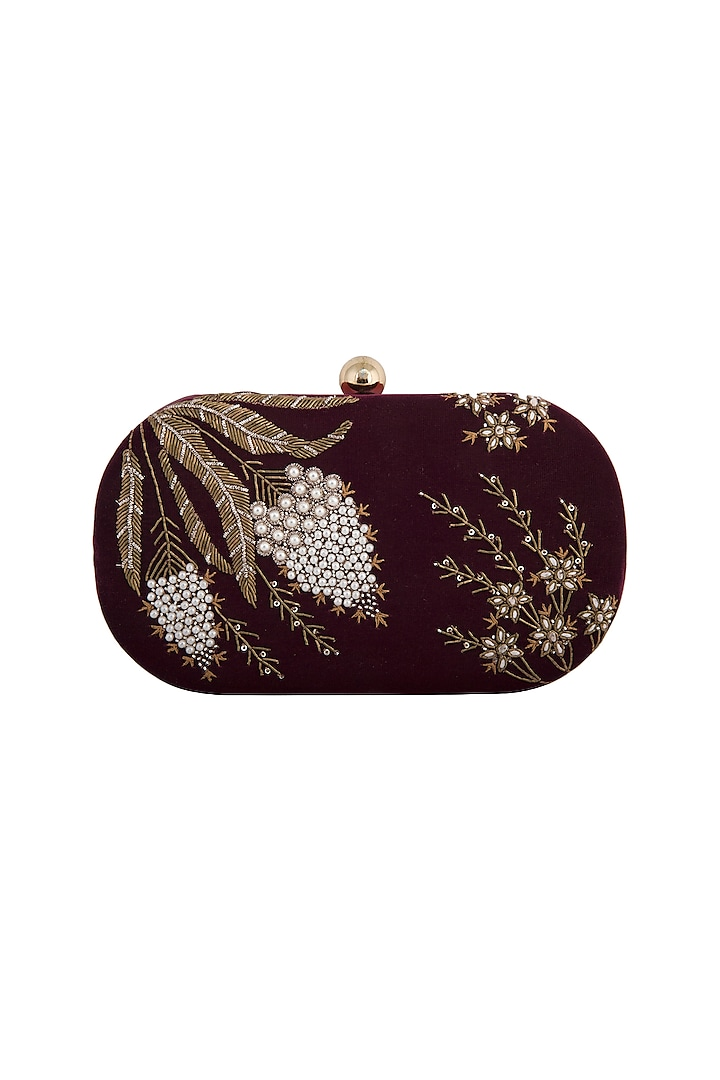 Maroon Hand Embroidered Clutch by MKNY