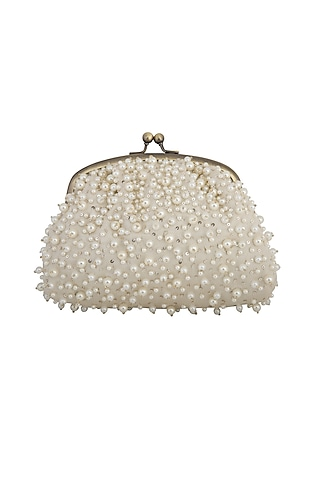 Off White Pearl Embroidered Potli by MKNY