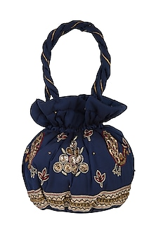 Navy Blue Zardosi Embroidered Potli Bag by MKNY