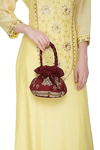 Maroon Hand Embroidered Potli Bag by MKNY