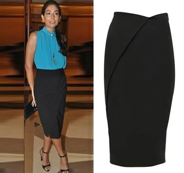 Onyx black overlapping panel skirt by Selvage