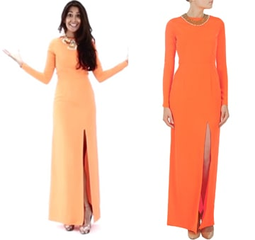 Neon orange maxi dress by Pernia Qureshi