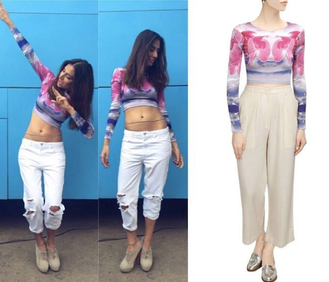 Purple and pink orchid bloom crop top by Kanika Goyal