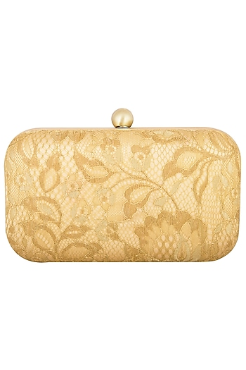 Gold Satin Sling Clutch by MKNY