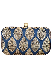 Navy Blue Textured Sling Clutch by MKNY