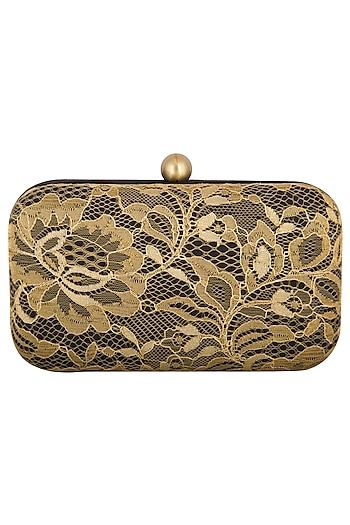 Black & Gold Satin Clutch by MKNY