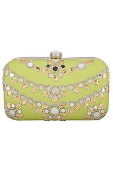 Lime Green Embroidered Mirror Sling Clutch by MKNY