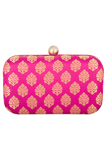 Fuchsia Textured Sling Clutch by MKNY