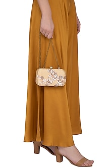 Beige Embroidered Sling Clutch by MKNY