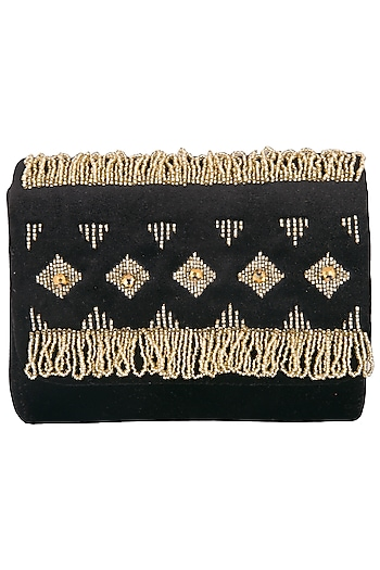 Black Embroidered Fringe Sling Clutch by MKNY