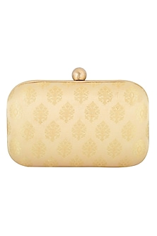 Beige Textured Sling Clutch by MKNY