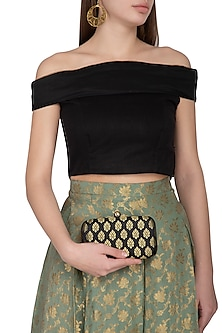 Black Textured Sling Clutch by MKNY