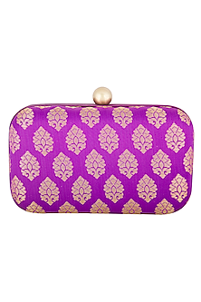 Purple Textured Sling Clutch by MKNY