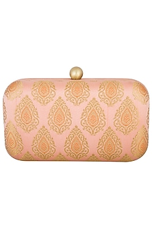 Powder Peach Textured Sling Clutch by MKNY