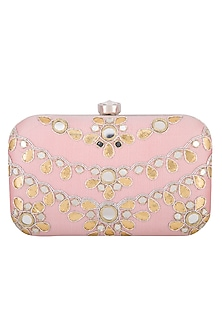 Pale Pink Embroidered Mirror Sling Clutch by MKNY