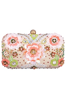 Powder pink embroidered clutch by MKNY