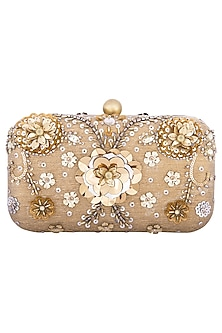 Gold multi colored embroidered clutch by MKNY