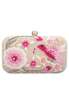 Natural embroidered clutch by MKNY