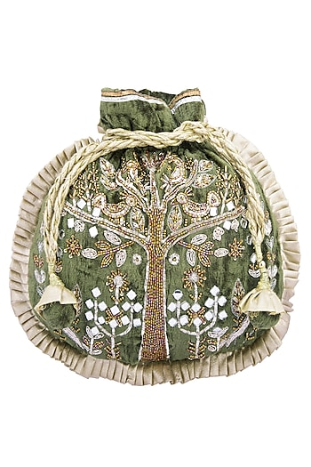 Olive embroidered potli by MKNY