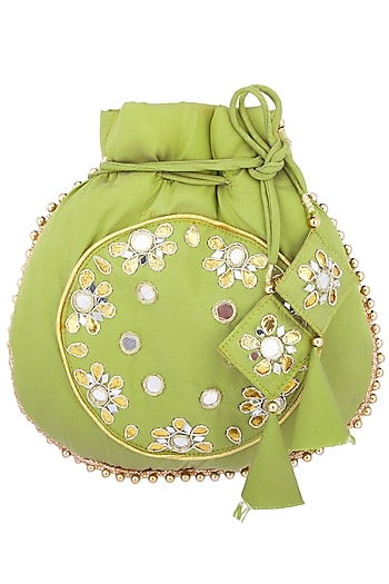 Olive mirror embroidered potli by MKNY