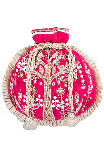 Fuschia embroidered potli by MKNY