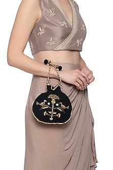 Black embroidered velvet potli by MKNY