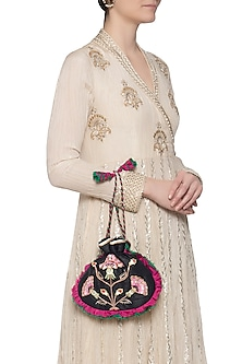 Black embroidered potli by MKNY