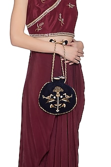 Midnight blue embroidered potli by MKNY