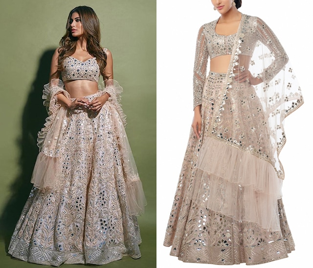 Blush Peach Embroidered Lehenga Set by Tamanna Punjabi Kapoor