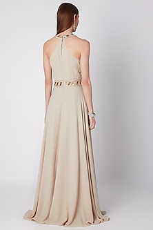Beige Embroidered Pleated Dress by Mirroir