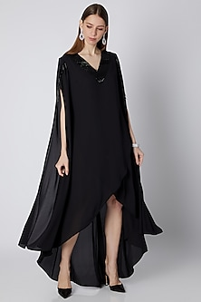 Black Embroidered Flowy Dress by Mirroir